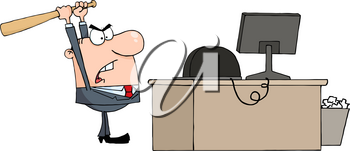 Clipart Image of An Angry Businessman Taking a Baseball Hat To His Computer