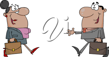 Clipart Image of Two Hispanic Coworkers Saying Hello As They Pass Each Other