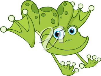 A Cartoon Frog With Blue Eyes In Mid-jump Clipart Illustration