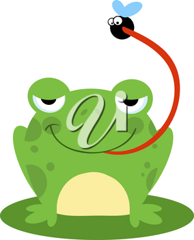 Clipart Image of A Frog Catching a Fly With Its Long Tongue