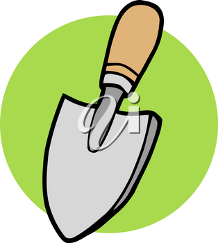 A Trowel With a Wood Handle Clipart Image