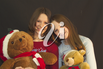 Stock Photo of Two Sisters With Christmas Bears