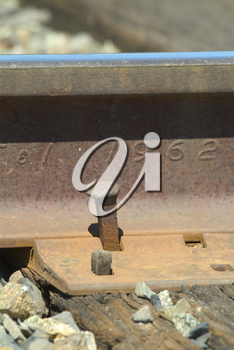 Railroad Track and Spike Stock Photo
