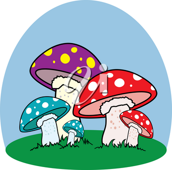 Clip Art Illustration of Colorful Mushrooms in the Grass