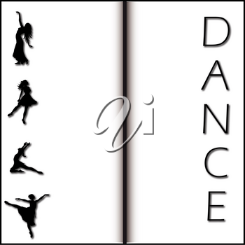 Clip Art Image of a Black and White Dancing Background