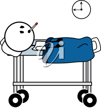 Clip Art Image of a Stick Figure in a Hospital Bed With a Thermometer in His Mouth