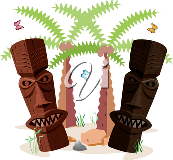 Clip Art Image of Tiki Statues on a Tropical Beach With Palm Trees
