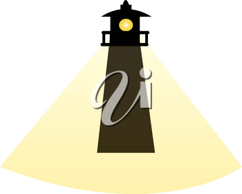 Clip Art Image of a Silhouette of a Lighthouse With a Beam of Light
