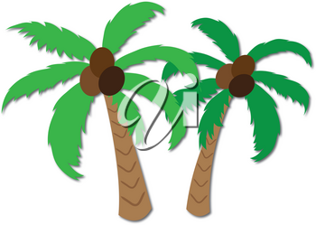 Clip Art Image of Coconut Palm Trees