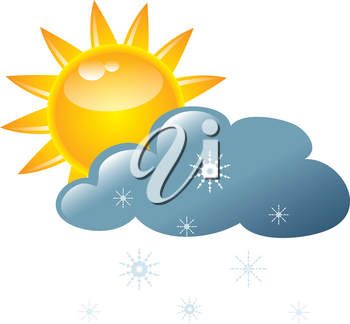Clip Art Image of a Sun With Snowflakes Falling From a Cloud