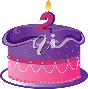 Clip Art Illustration of a Cartoon Birthday Cake With a 2 Candle