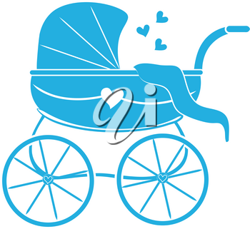 Clip Art Illustration of a Silhouette of a Baby Carriage