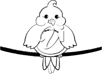 Clip Art Illustration of a Fat Little Bird Sitting on a Wire Coloring Page