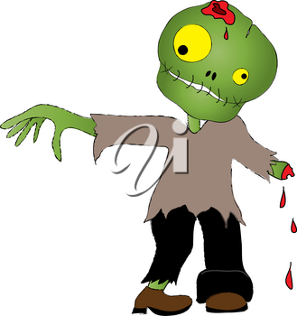 Clip Art Image of a Cute Zombie Boy for Halloween