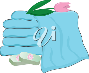 Clip Art Illustration of a Spa Items-Towels and Soaps