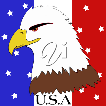 Clip Art Illustration of a Bald Eagle and USA on a Stars and Stripes Background