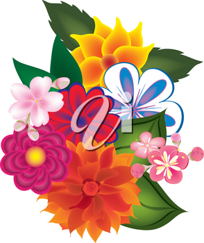 Clip Art Illustration of a Bunch of Flowers