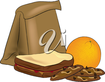 Clip Art Illustration of a Sack Lunch-Sandwich, Cookies and an Orange
