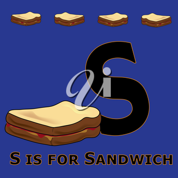 Clip Art Illustration of The Alphabet Letter S Is for Sandwich