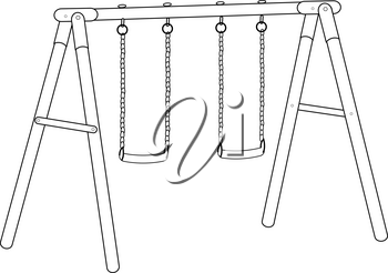 Black and White Clip Art Illustration of a Swing Set