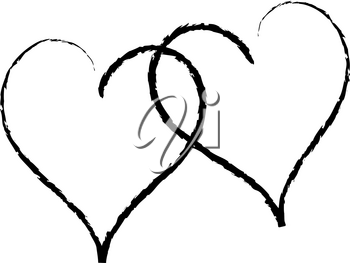 Clip Art Illustration of a Black and White Heart Design