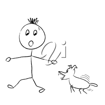Clip Art Illustration of a Stick Boy Being Chased by a Mean Dog
