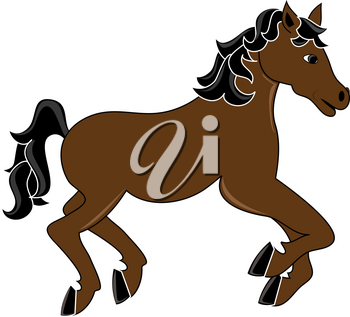 Clip Art Illustration of a Horse Galloping