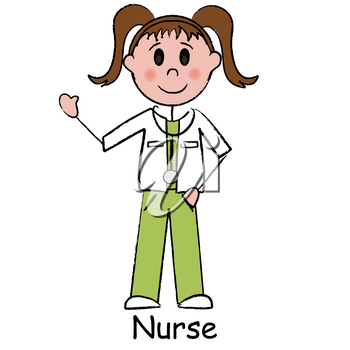 Clip Art Illustration of a Stick Figure-Surgical Nurse