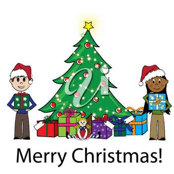 Clip Art Illustration of Kids Around a Christmas Tree