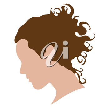 Clip Art Illustration of the Silhouette of a Woman's Head