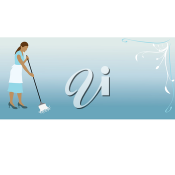 Clip Art Illustration of a Woman Mopping a Floor Design Stock Photography