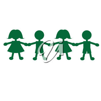 Clip Art Illustration of a String of Boys and Girls Paper Dolls