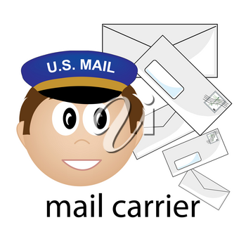 Clip Art Illustration of a Caucasian Mail Carrier Job Icon