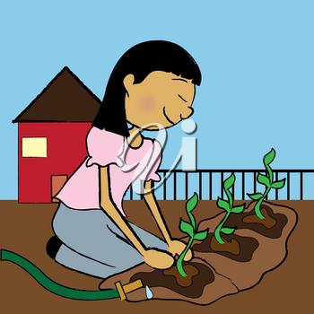 Clip Art Illustration of an Asian Teen Girl Planting a Garden