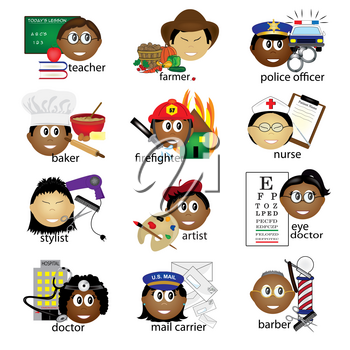 Clip Art Illustration of a Collection of Ethnic Job Icons