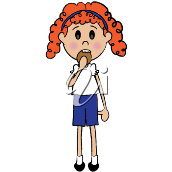 Clip Art Illustration of a Little Red Haired Girl Eating a Cookie