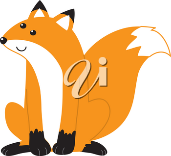 Clip Art Illustration Of A Fox Sitting Down