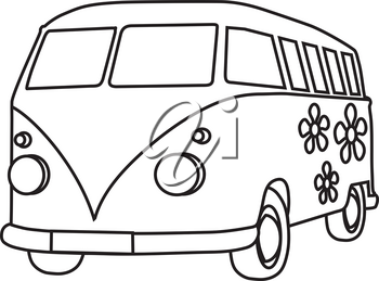 Clipart Image of Black and White Hippie Bus With Flowers on the Side