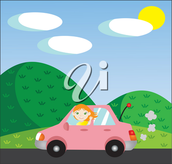 Clipart Image of A Waving Red Head Driving a Pink Car Through a Hilly Landscape
