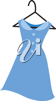 Classy But Casual Blue Dress Clipart Illustration