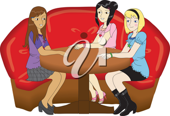 Clipart Illustration of a Trio of Girlfriends Sitting in a Restaurant