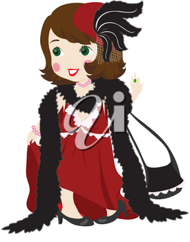 Royalty Free Clipart Illustration of a Girl Wearing Her Mother's Clothes