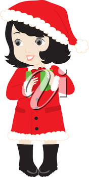 Royalty Free Clipart Illustration of a Little Girl in a Santa Outfit With a Present