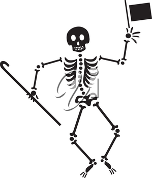 Royalty Free Clipart Illustration of a Dancing Skeleton