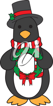 Royalty Free Clipart Illustration of a Penguin in a Hat and Scarf