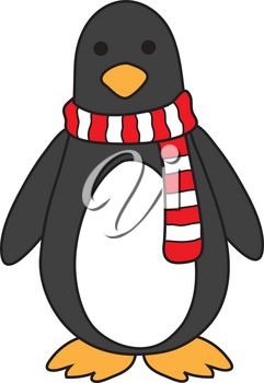 Royalty Free Clipart Illustration of a Penguin Wearing a Striped Scarf