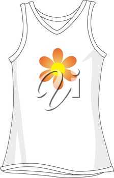 Royalty Free Clipart Illustration of a White Tank Top With a Flower