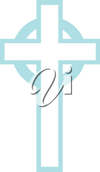 Royalty Free Clipart Illustration of a Light Blue Cross