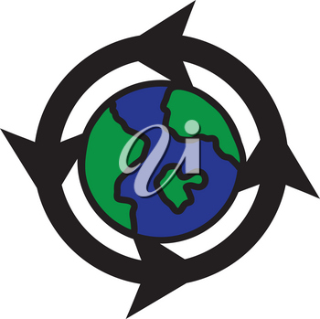 Clipart Illustration of a Recycling Icon