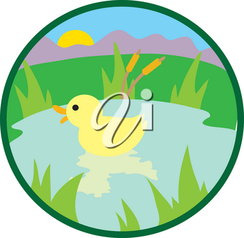 Clipart Illustration of a Duck in a Pond